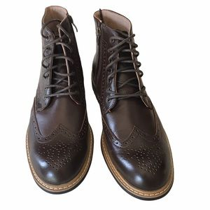 New Bruno Marc Leather Bergen-01 Ankle Boots Brown